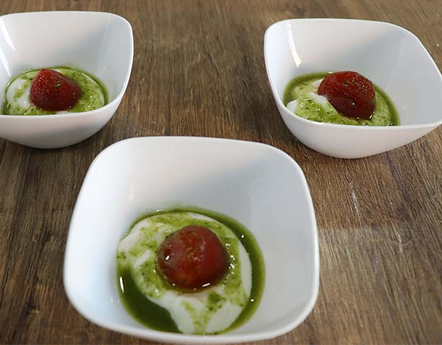 Tapa cherry queso pesto